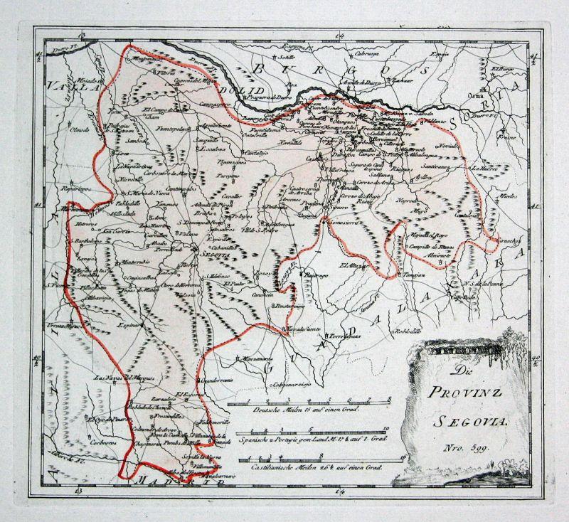 Spanien Spain Portugal Segovia Turégano map Karte Reilly engraving Kupferstich
