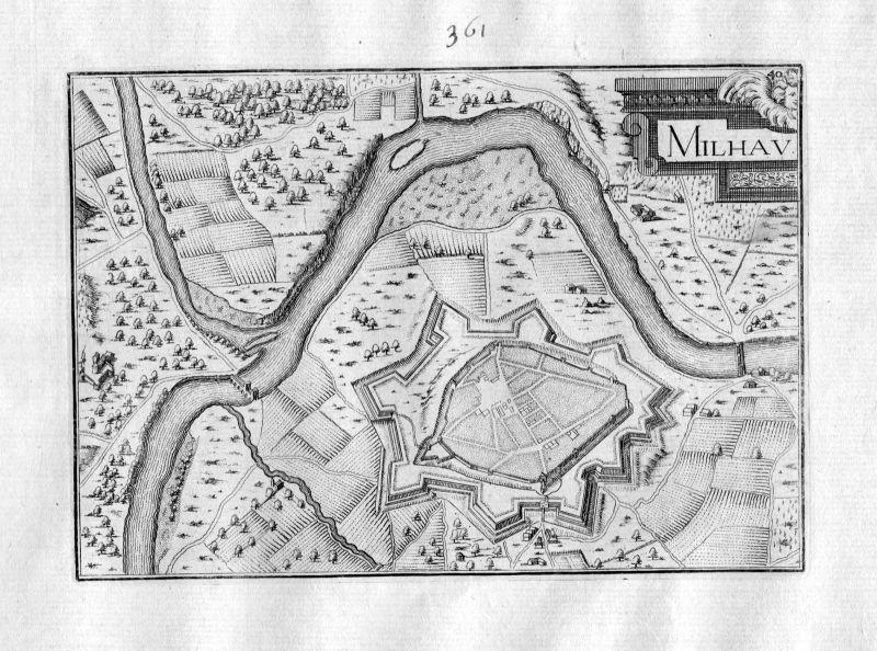 Ca 1630 Millau Aveyron Frankreich Kupferstich Karte map engraving gravure Tassin