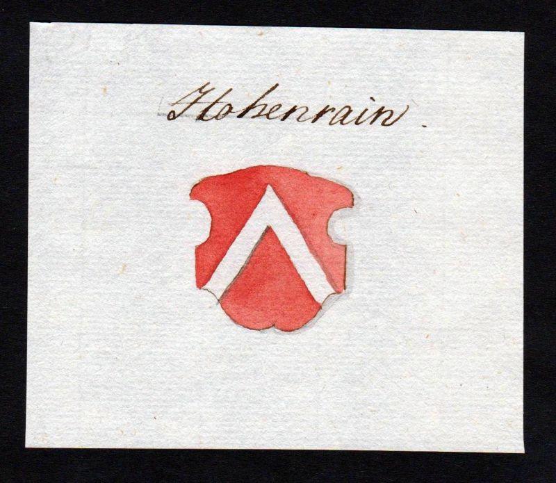 18. Jh. Hohenrain Handschrift Manuskript Wappen manuscript coat of arms 0