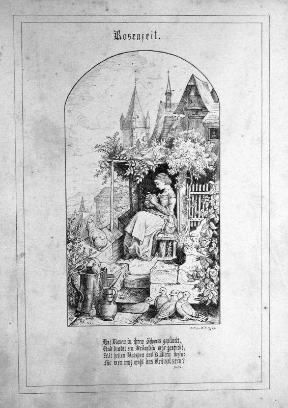 Rosenzeit Frau Tauben Katze Zeichnung Biedermeier Gedicht Goethe Richter Ludwig