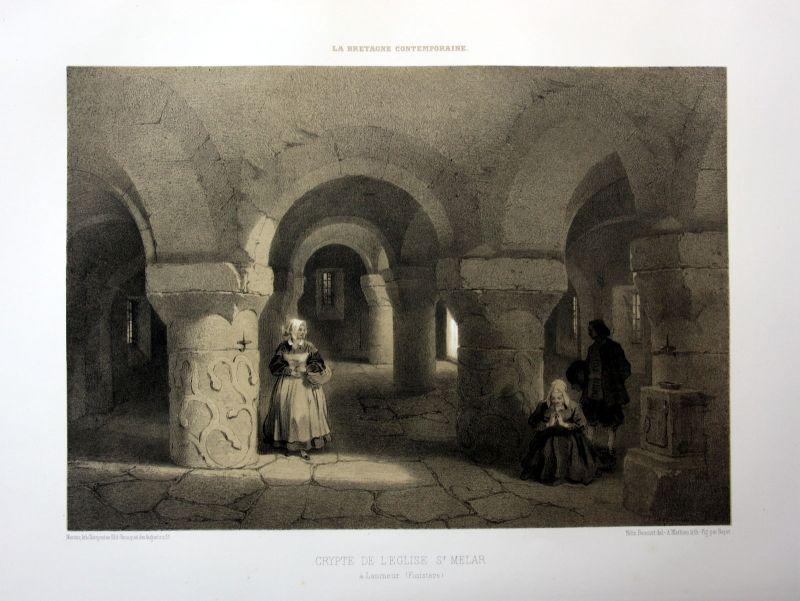 Ca. 1870 Eglise Saint-Melar de Lanmeur Bretagne France estampe Lithographie