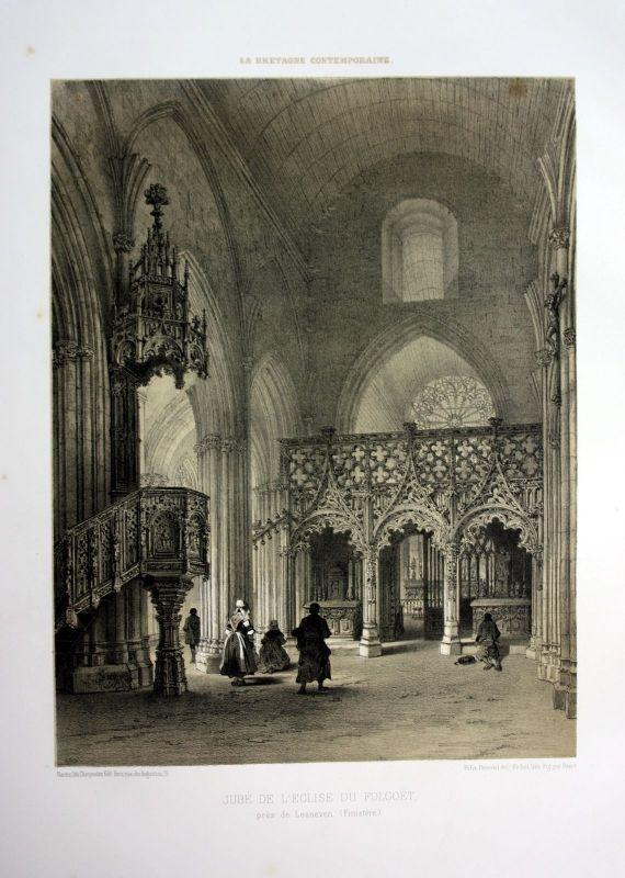 Ca. 1870 Basilique Le Folgoet Bretagne France estampe Lithographie lithograph