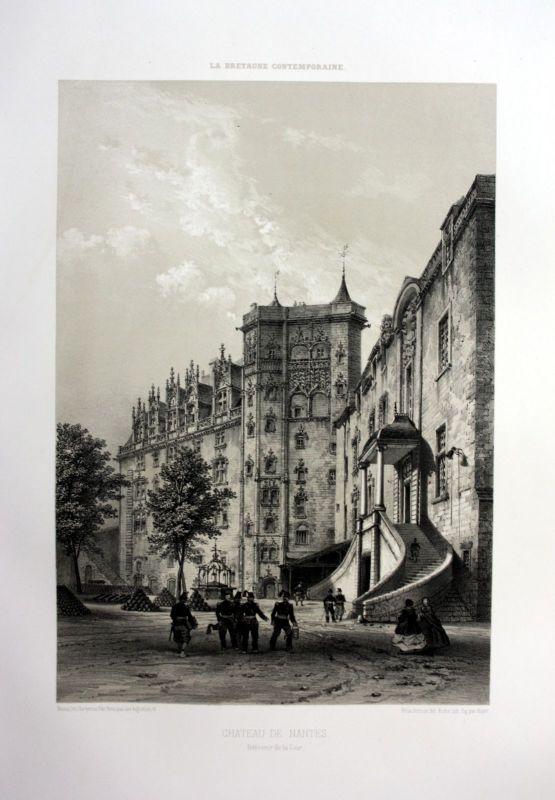 1870 Chateau des ducs de Bretagne Nantes France estampe Lithographie lithograph
