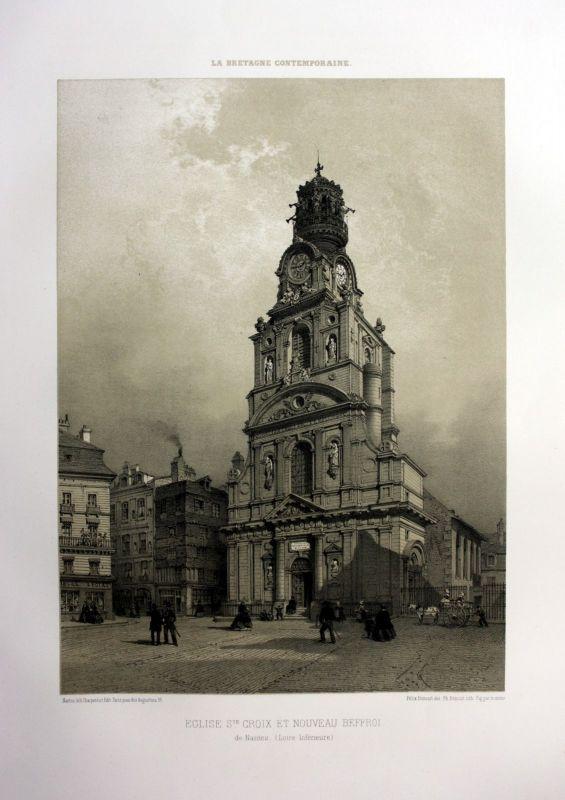 1870 Eglise Sainte-Croix Nantes Bretagne France estampe Lithographie lithograph