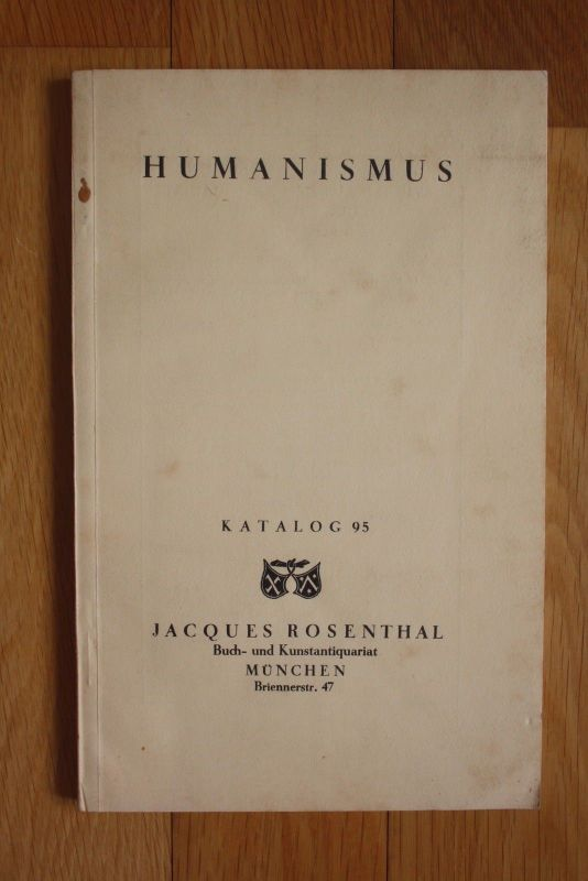 1934 Humanismus Jacques Rosenthal Antiquariatskatalog Antiquariat Katalog 0