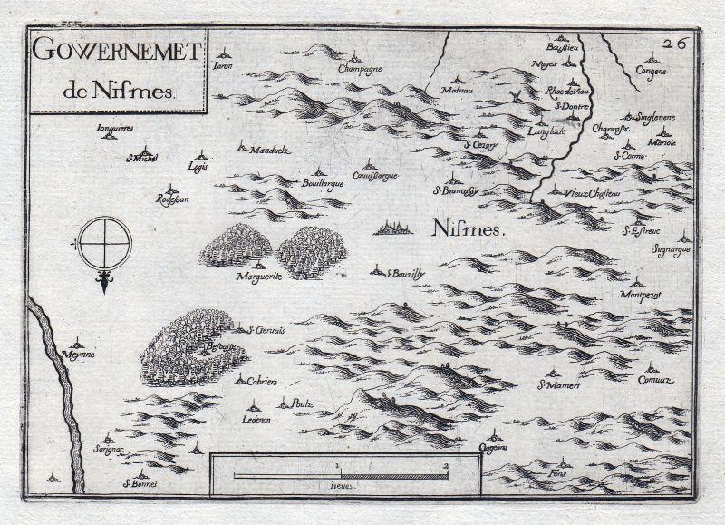 1630 Nismes Namur Belgique Belgien gravure estampe Kupferstich Tassin