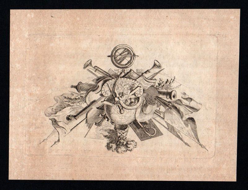 Ornament Waffen Flaggen Weltkugel Malerei Kupferstich copper engraving ca. 1700