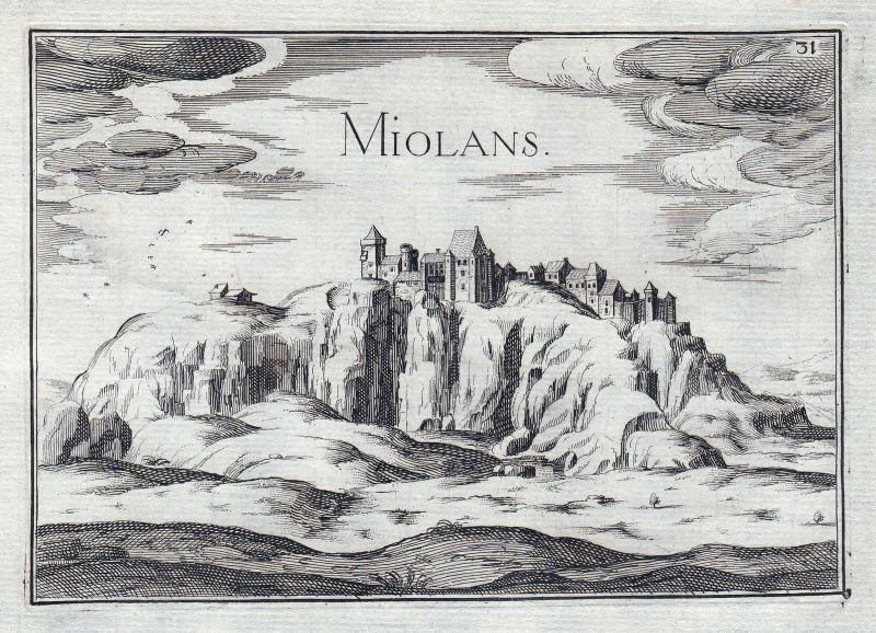 1630 Miolans Chateau Savoie France gravure estampe Kupferstich Tassin
