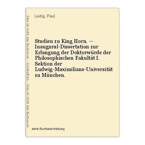 Studien zu King Horn. -- Inaugural-Dissertation zur Erlangung der Doktorwürde de 0