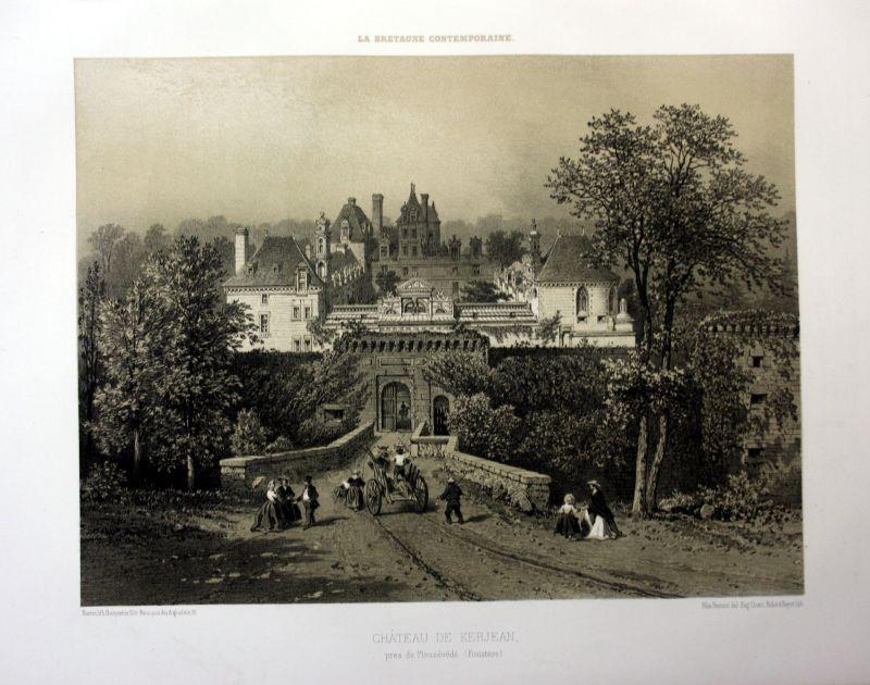 Ca. 1870 Chateau de Kerjean Bretagne France estampe Lithographie lithograph