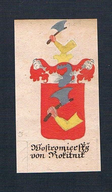 18. Jh. Wostromiersky von Rokitnitz Böhmen Manuskript Wappen Adel coat of arms 0