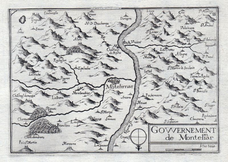 1630 Montelimar Drome France gravure estampe Kupferstich Tassin 146327