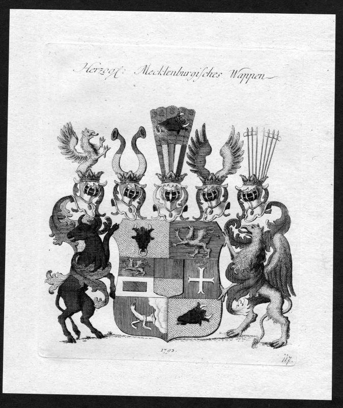 1790 - Mecklenburg Wappen Adel coat of arms heraldry Heraldik Kupferstich