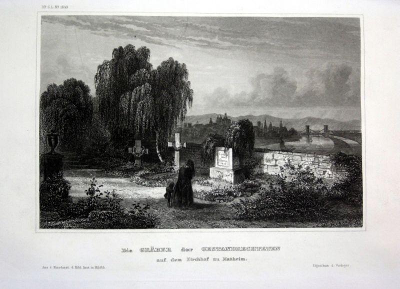 Ca. 1840 Mannheim Kirche Friedhof cementery Stahlstich engraving