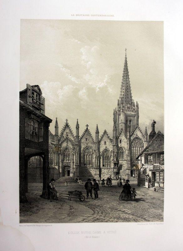 1870 Eglise Notre-Dame de Vitre Bretagne France estampe Lithographie lithograph
