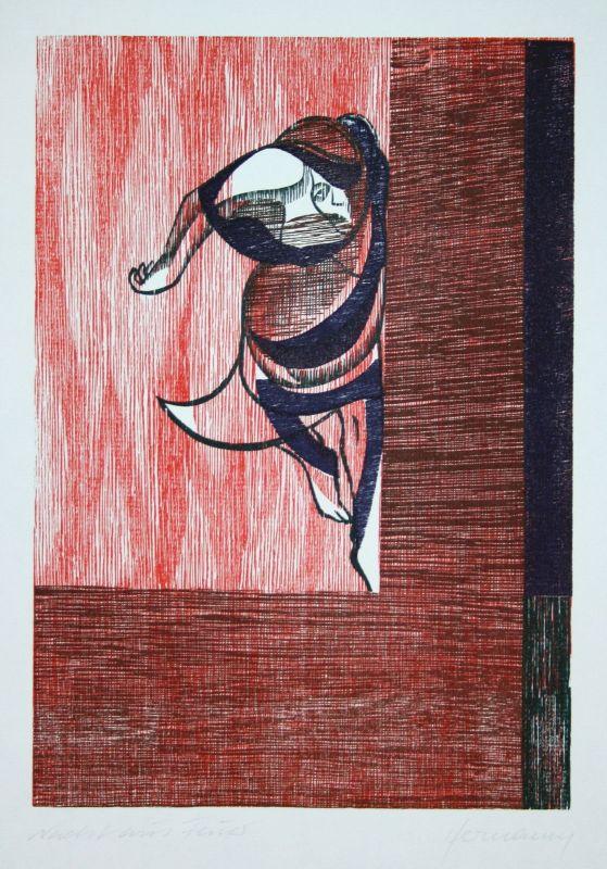1994 Gerhard Hermanns Die Nacht aus Feuer Holzschnitt signiert Grafik