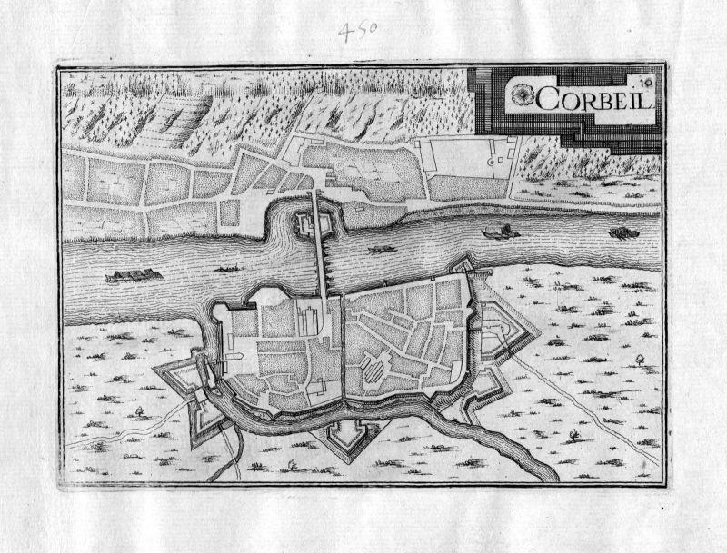 Ca 1630 Corbeil France Frankreich Kupferstich Karte map engraving gravure Tassin