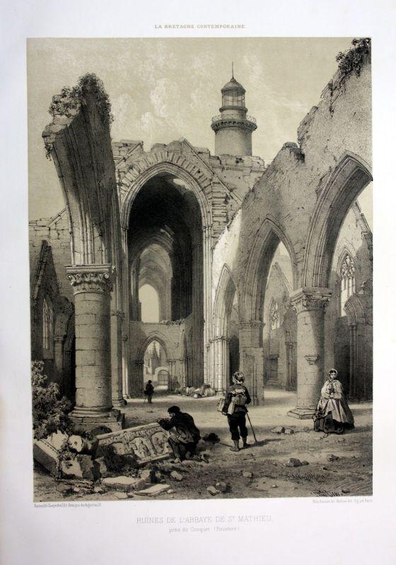 Ca 1870 Abbaye Saint-Mathieu de Fine-Terre Bretagne France estampe Lithographie