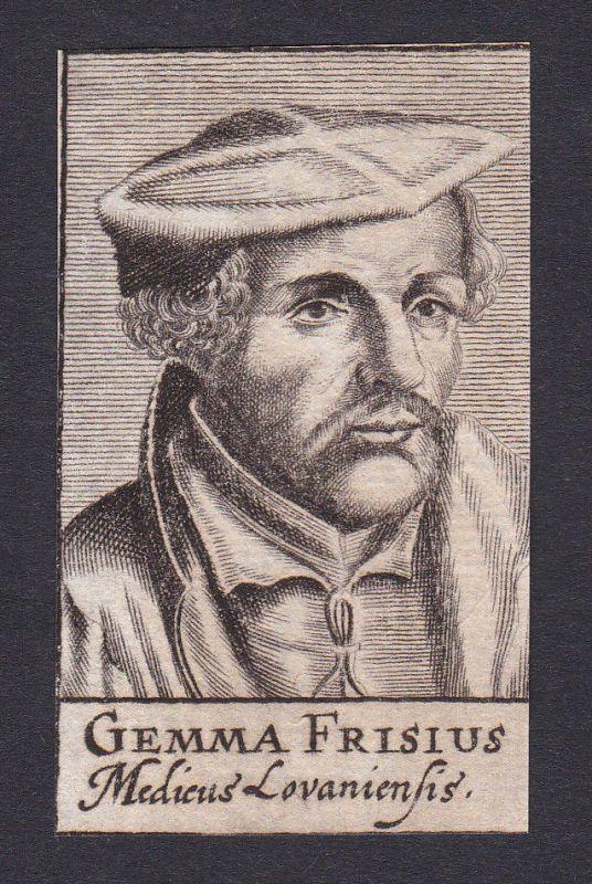 17. Jh. Gemma Frisius / doctor Mediziner Arzt Löwen Portrait Kupferstich