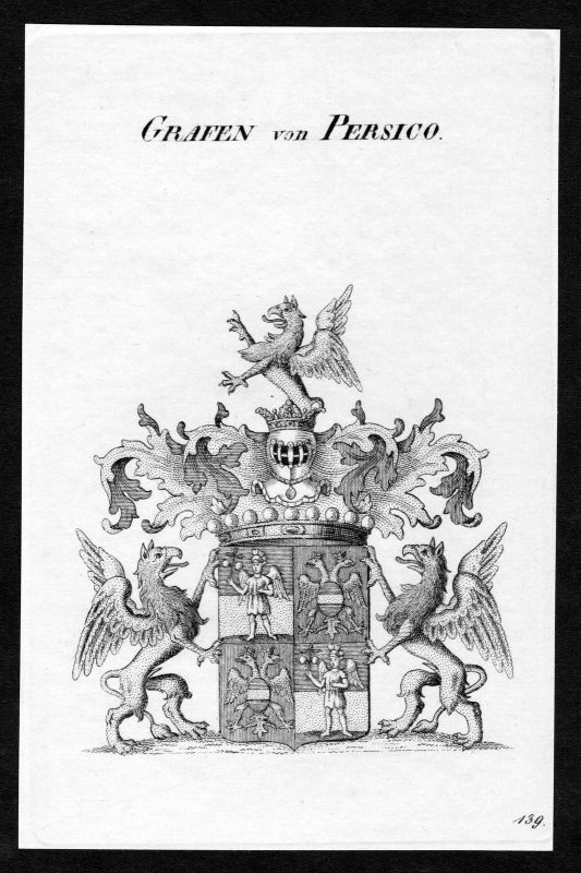 Ca. 1820 Persico Wappen Adel coat of arms Kupferstich antique print heraldry 0
