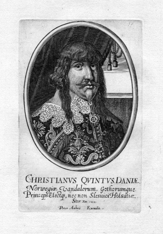 1650 Christian V 5. Danmark Norge Denmark Norway Portrait Kupferstich antique