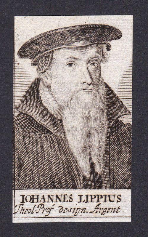 17. Jh. Johannes Lippius / theologian Theologe Straßburg Portrait Kupferstich