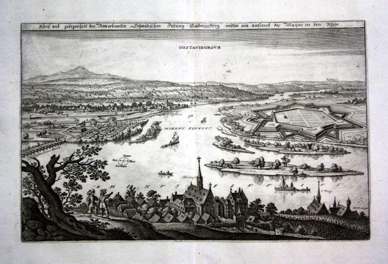 1679 Gustavsburg Main Rhein plan Ansicht view Kupferstich antique print Merian