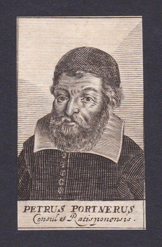 17. Jh. Peter Portner / lawyer Jurist Regensburg Portrait Kupferstich