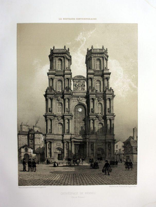 Ca. 1870 Cathedrale Saint-Pierre de Rennes Bretagne France estampe Lithographie