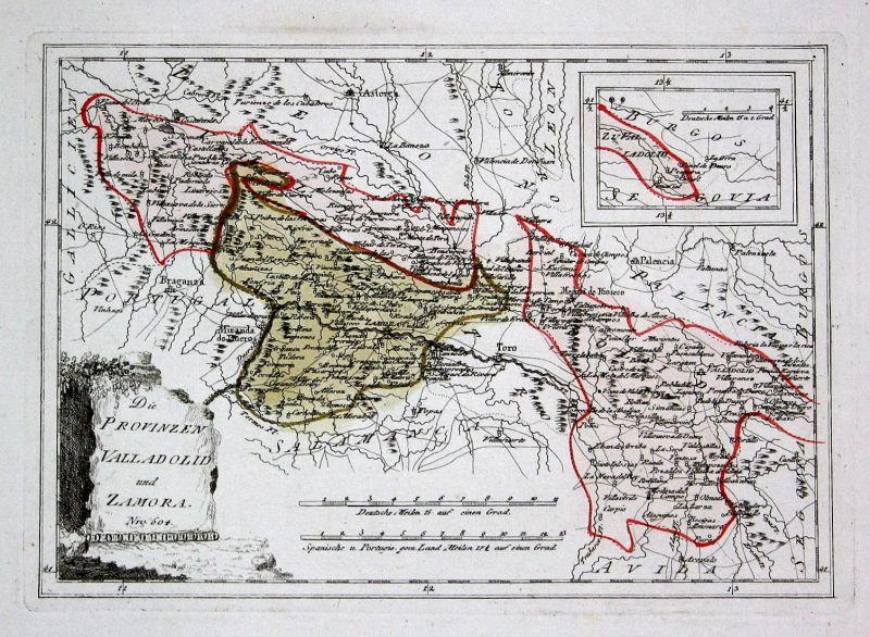 Spanien Spain Portugal Valladolid Zamora Toro map Reilly engraving Kupferstich