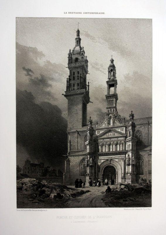 Ca. 1870 Saint-Houardon de Landerneau Bretagne France estampe Lithographie litho