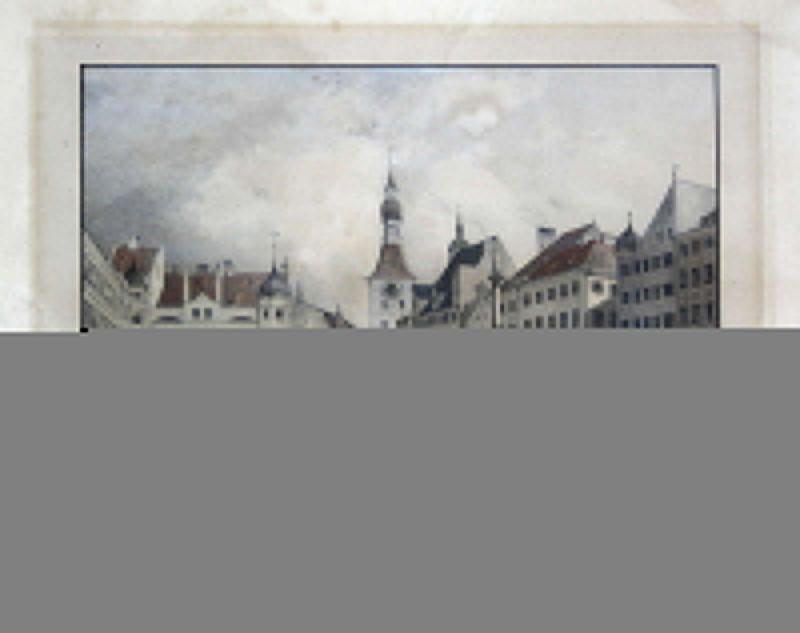 Um 1830 Marienplatz München Ansicht Farblithographie Lithographie Litho Lebschee 0