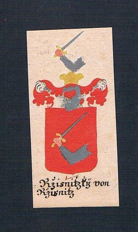 18. Jh Resnitzky von Resnitz Böhmen Manuskript Wappen Adel coat of arms Heraldik 0