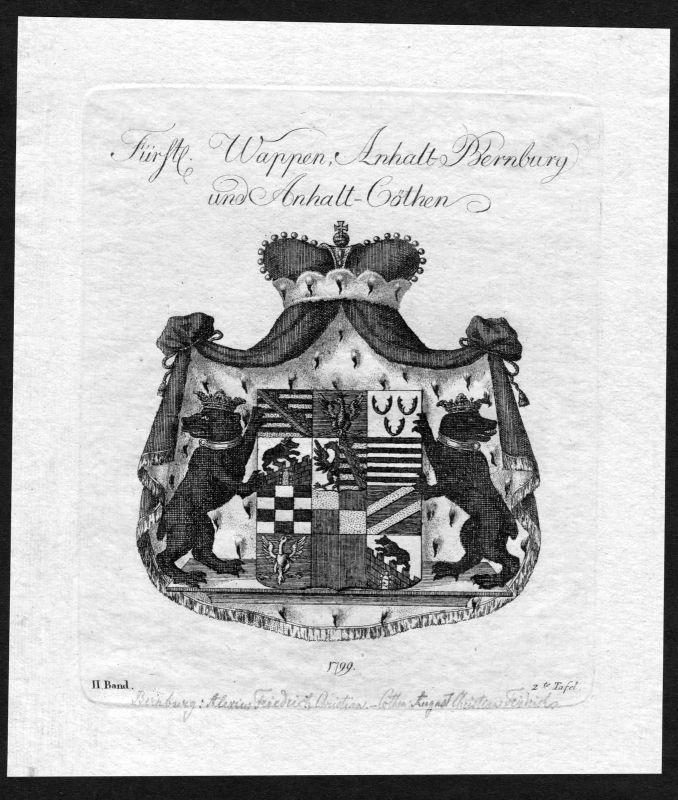 1790 - Anhalt Bernburg Köthen Koethen Wappen Adel coat of arms heraldry Heraldik