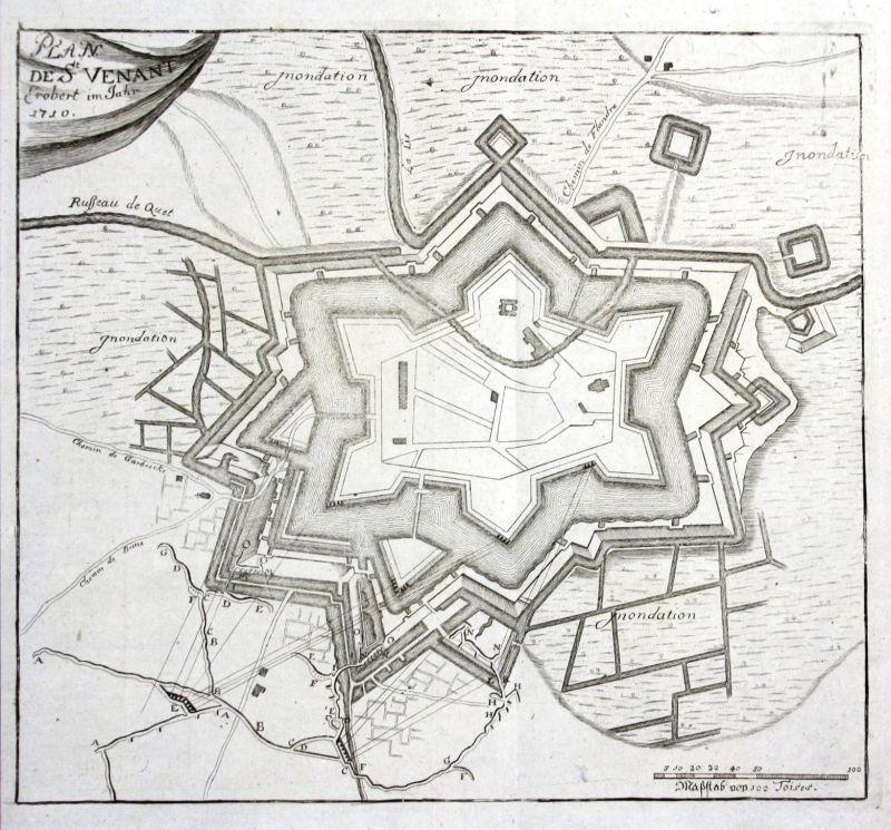 1715 Fort Knokke Lo-Reninge Belgique gravure carte Kupferstich antique print 0