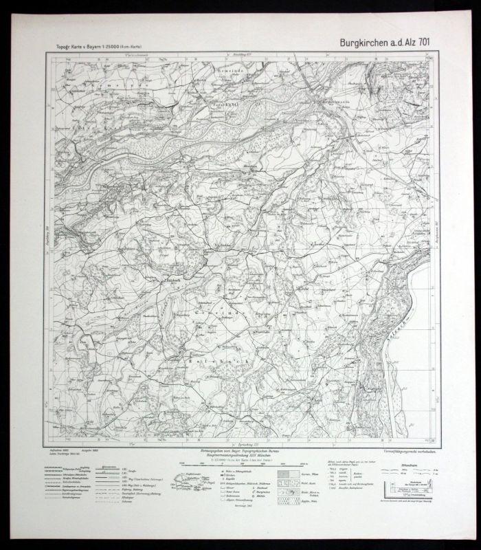 1945 Burgkirchen alz Halsbach Dösham Asten Margarethenberg 1:25000 Karte 0