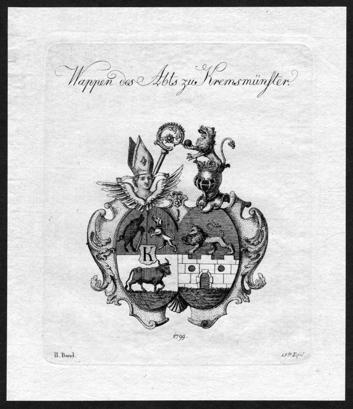 1790 - Kremsmünster Kremsmuenster Wappen Adel coat of arms heraldry Heraldik 0