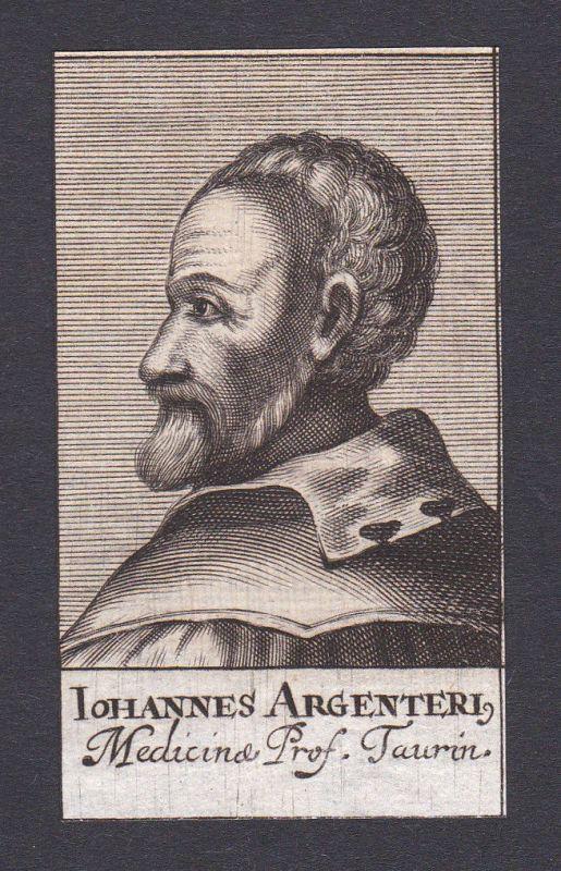 17 Jh. Johann Argentier doctor Arzt Mediziner Turin Italien Portrait Kupferstich