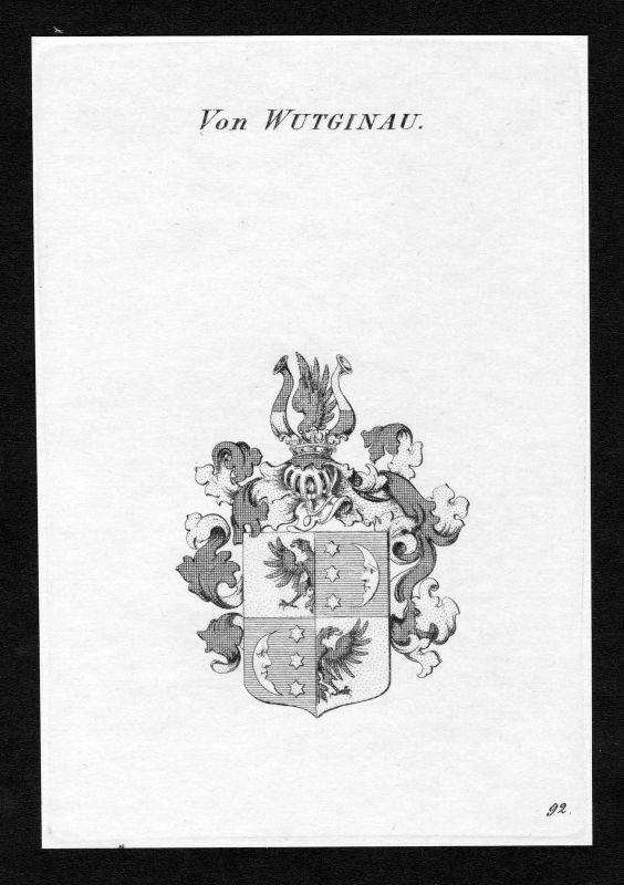 Ca. 1820 Wutginau Wappen Adel coat of arms Kupferstich antique print heraldry 0