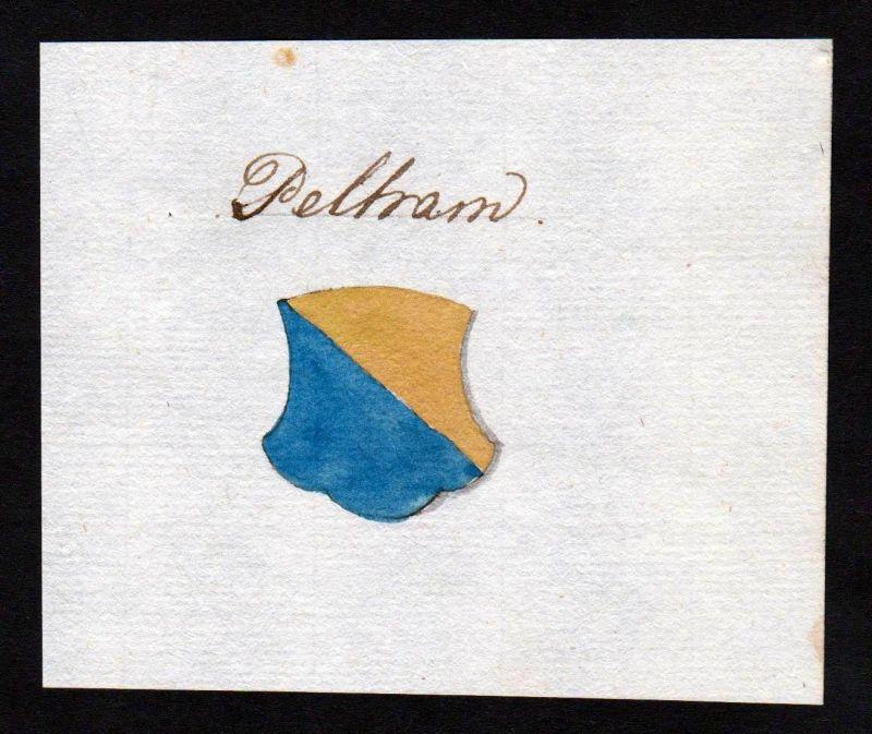 18. Jh. Pelham Handschrift Manuskript Wappen manuscript coat of arms 0