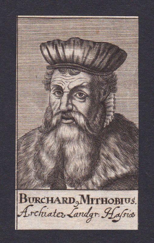 17. Jh. Burkhard Mithoff / doctor Mediziner Arzt Kassel Portrait Kupferstich