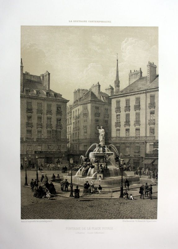 Ca. 1870 Fontaine Place Royale Nantes Bretagne France estampe Lithographie litho