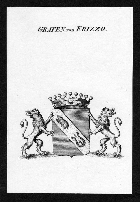 Ca. 1820 Erizzo Wappen Adel coat of arms Kupferstich antique print heraldry 0