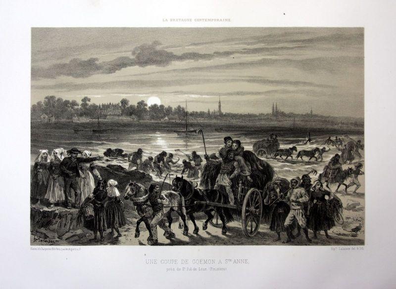 Ca 1870 Saint-Pol-de-Leon Goemon Bretagne France estampe Lithographie lithograph