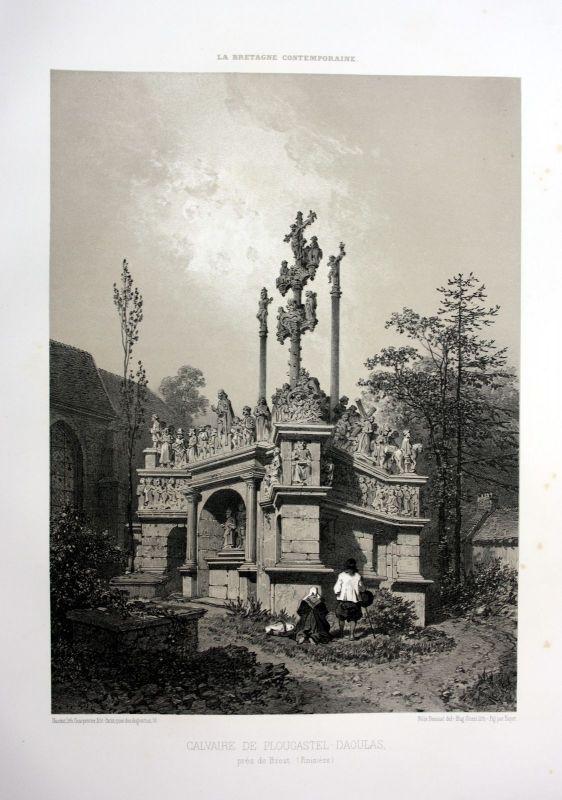 1870 Calvaire de Plougastel-Daoulas Bretagne France estampe Lithographie litho