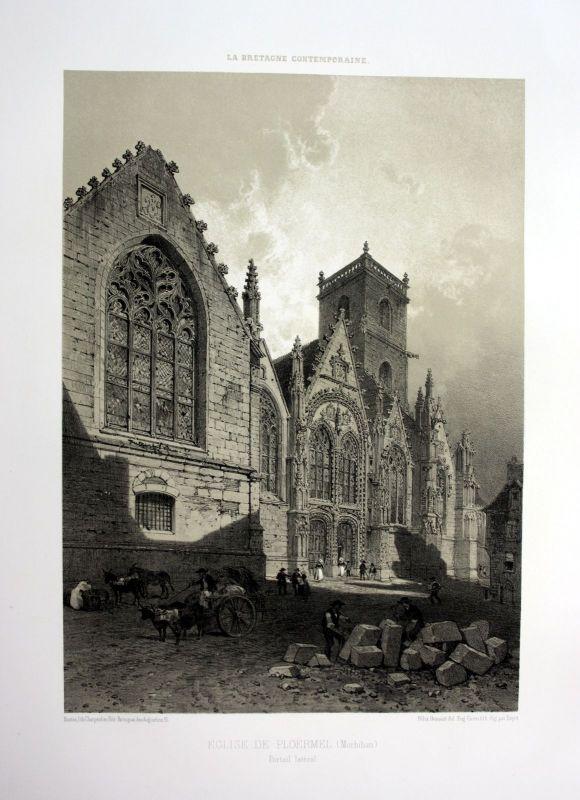 1870 Eglise Saint-Armel de Ploermel Bretagne France estampe Lithographie litho