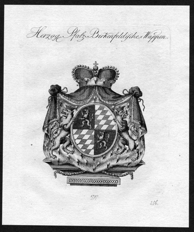 1790 - Pfalz-Birkenfeld Wappen Adel coat of arms heraldry Heraldik Kupferstich