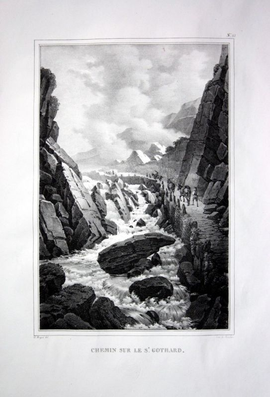 1825 St. Gothard Bergstraße Esel - Schweiz Suisse Lithographie Pingret.