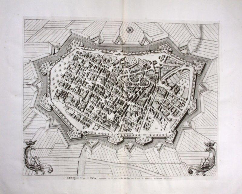 1704 Lucca veduta Toscana acquaforte engraving Kupferstich 0