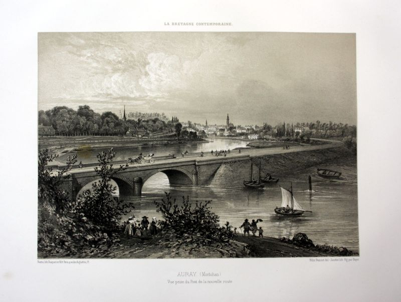 Ca. 1870 Auray pont Brücke Bretagne France estampe Lithographie lithograph